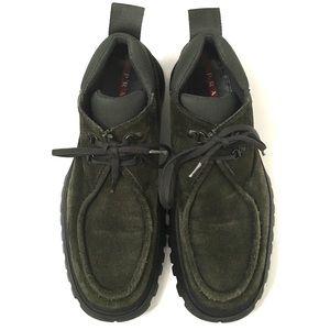 Prada Men's Olive Lug soles Suede Boots